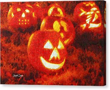 Halloween Night Best Friends - Da Canvas Print by Leonardo Digenio