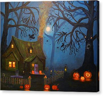 Headstones Canvas Print - Halloween Night by Ken Figurski