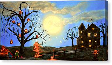 Headstones Canvas Print - Halloween Night Two by Ken Figurski