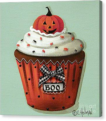 Halloween Pumpkin Cupcake Canvas Print by Catherine Holman