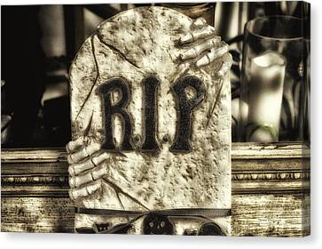 Halloween Rip Rest In Peace Headstone Canvas Print by Thomas Woolworth