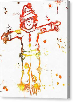 Halloween Scarecrow Paint Splatter Canvas Print by Dan Sproul