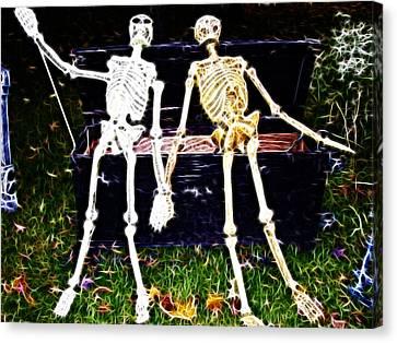 Halloween Skeleton Couple Canvas Print by Darleen Stry