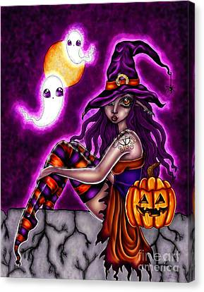 Halloween Witch Canvas Print by Coriander  Shea
