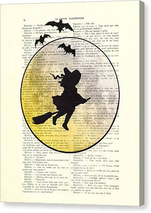 Witch Flying With Full Moon Canvas Print