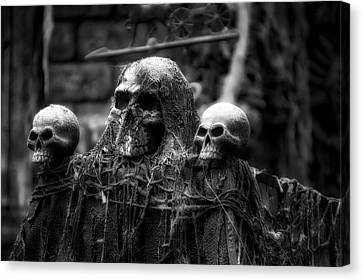 Halloween Zombies The Day After 01 Bw Canvas Print by Thomas Woolworth