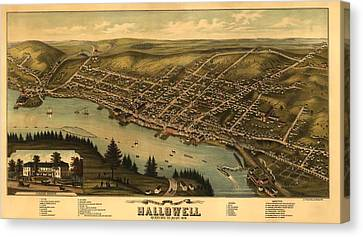 Hallowell Maine 1878 Canvas Print by Mountain Dreams