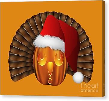Hallowgivingmas Santa Turkey Pumpkin Canvas Print