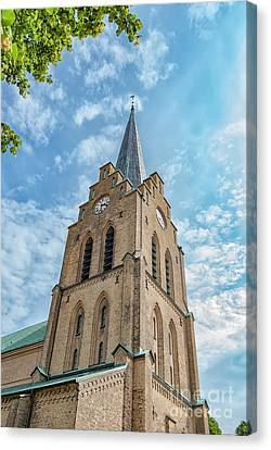 Canvas Print featuring the photograph Halmstad Church In Sweden by Antony McAulay