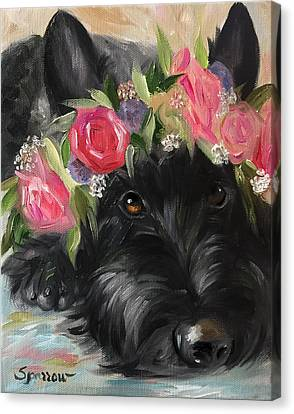Scottish Dog Canvas Print - Halo by Mary Sparrow