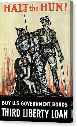 Halt The Hun - Ww1 Canvas Print by War Is Hell Store
