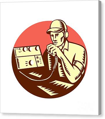 Ham Radio Operator Circle Woodcut Canvas Print by Aloysius Patrimonio