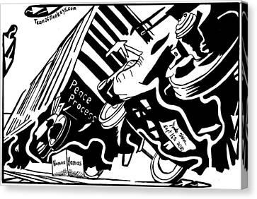 Hamas And The Peace Train By Yonatan Frimer Canvas Print by Yonatan Frimer Maze Artist