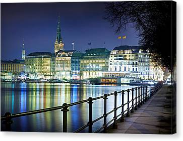 Canvas Print - Hamburg At Night by Marc Huebner