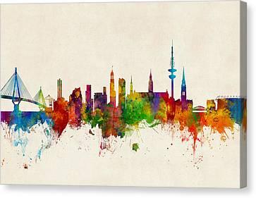 Hamburg Germany Skyline Canvas Print by Michael Tompsett