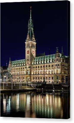 Canvas Print - Hamburg Town Hall At Night by Marc Huebner