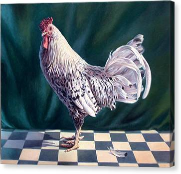Hamburger Rooster Canvas Print by Hans Droog