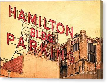 Hamilton Bldg Parking Sign Canvas Print