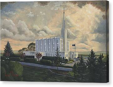 White Pines Canvas Print - Hamilton New Zealand Temple by Jeff Brimley