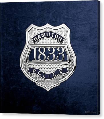 Police Art Canvas Print - Hamilton Police Service  -  H P S  Commemorative Officer Badge Over Blue Velvet by Serge Averbukh