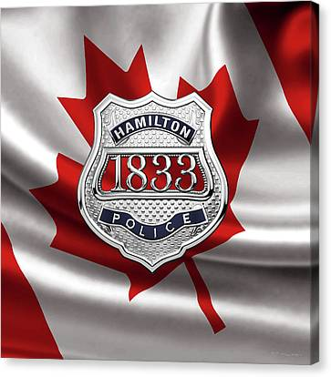 Hamilton Police Service  -  H P S  Commemorative Officer Badge Over Canadian Flag Canvas Print