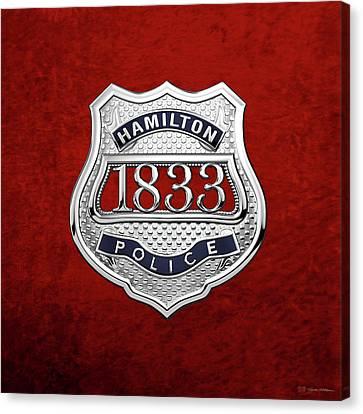 Police Art Canvas Print - Hamilton Police Service  -  H P S  Commemorative Officer Badge Over Red Velvet by Serge Averbukh