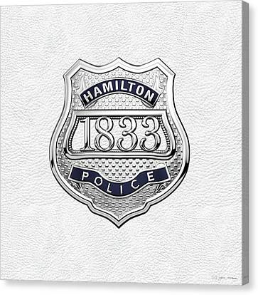Police Art Canvas Print - Hamilton Police Service  -  H P S  Commemorative Officer Badge Over White Leather by Serge Averbukh