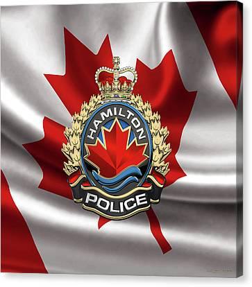 Police Art Canvas Print - Hamilton Police Service  -  H P S  Emblem Over Canadian Flag by Serge Averbukh