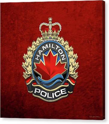 Police Art Canvas Print - Hamilton Police Service  -  H P S  Emblem Over Red Velvet by Serge Averbukh