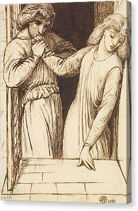 Hamlet And Ophelia - Compositional Study Canvas Print by Dante Gabriel Rossetti