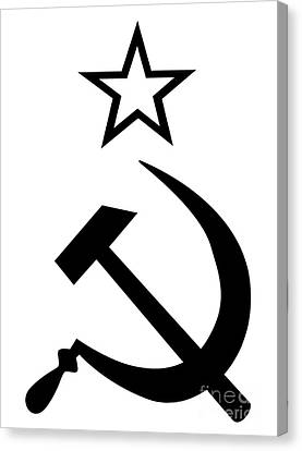 Hammer Ans Sickle Black And White Canvas Print