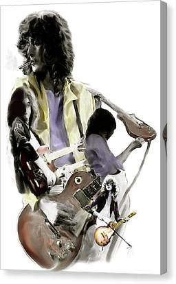 Hammer Of The Gods   Jimmy Page Canvas Print by Iconic Images Art Gallery David Pucciarelli