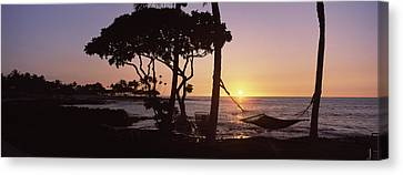 Hammock On The Beach At Sunset Canvas Print