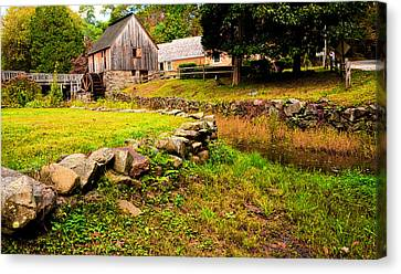 Old Mill Scenes Canvas Print - Hammond Gristmill Rhode Island - Colored Version by Lourry Legarde