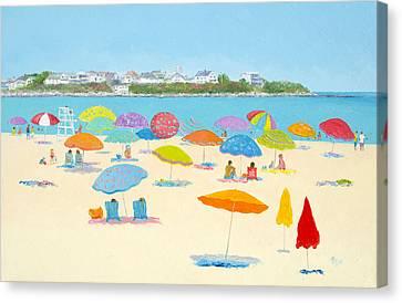 Sandy Beach Canvas Print - Hampton Beach Umbrellas by Jan Matson