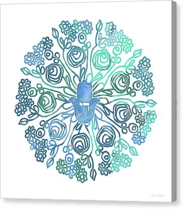 Hamsa Mandala 1- Art By Linda Woods Canvas Print by Linda Woods