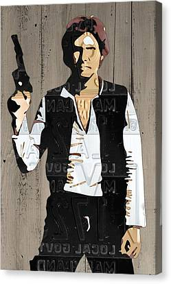 Han Solo Vintage Recycled Metal License Plate Art Portrait On Barn Wood Canvas Print by Design Turnpike