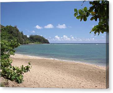 Canvas Print featuring the photograph Hanalei Bay Beach by Rau Imaging