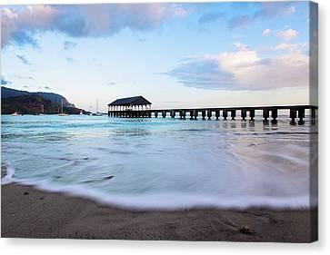 Canvas Print featuring the photograph Hanalei Bay Pier At Sunrise by Melanie Alexandra Price