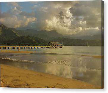 Hanalei Bay Reflections Canvas Print by Stephen  Vecchiotti