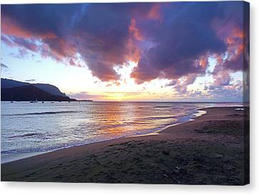 Hanalei Bay Sunset Kauai Canvas Print by Kevin Smith