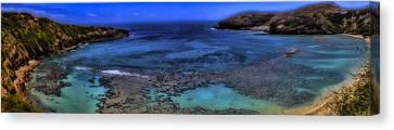 Canvas Print featuring the photograph Hanauma Bay Panorama by Ellen Heaverlo