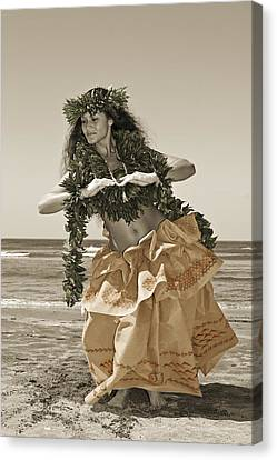 Hand Colored Hula Canvas Print by Himani - Printscapes