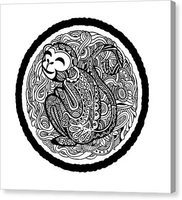 Hand Drawing Monkey Avatar, Chinese Zodiac Sign Canvas Print by Pakpong Pongatichat