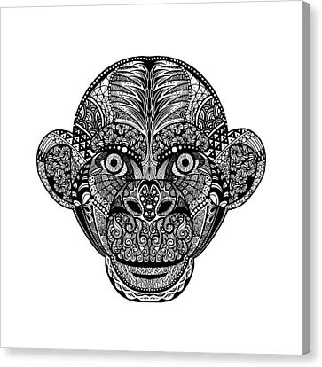 Hand Drawing Monkey Head Avatar, Chinese Zodiac Sign Canvas Print by Pakpong Pongatichat