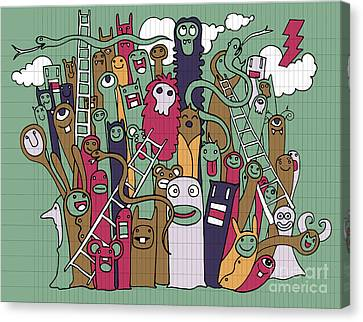 Risk Society Canvas Print - Hand Drawn Monsters And Snake Ladder by Pakpong Pongatichat