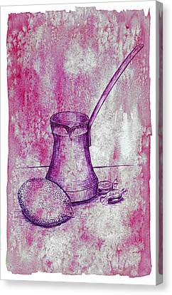 Hand Drawn Turkish Coffee Pot, Lemon And Candies Canvas Print