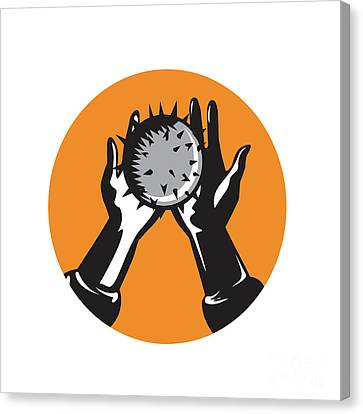 Hand Holding Ball With Spikes Circle Woodcut Canvas Print by Aloysius Patrimonio