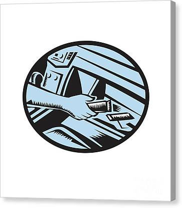 Hand Reaching In Glove Box For Energy Bar Oval Woodcut Canvas Print by Aloysius Patrimonio
