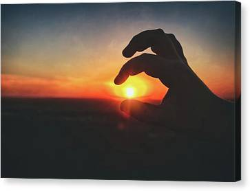 Canvas Print featuring the photograph Hand Silhouette Around Sun - Sunset At Lapham Peak - Wisconsin by Jennifer Rondinelli Reilly - Fine Art Photography